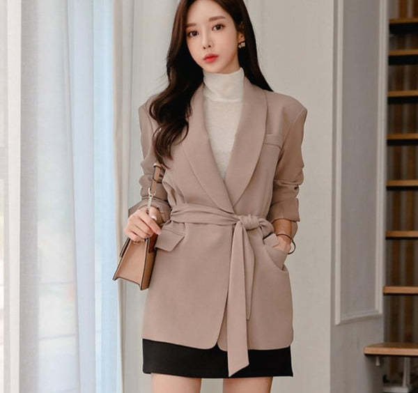 Elegant Turn-down Collar Women Blazer One Button Lace Up Autumn Winter Female Blazers Coat office Ladies Blazers Jackets 2019