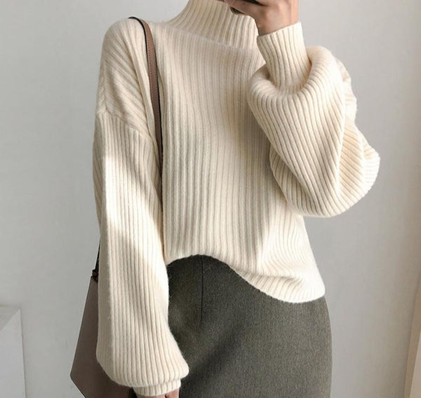 BGTEEVER 2020 New Lantern Sleeve Winter Sweater Women Turtleneck Loose Knitted Pullover Jumpers Female Striped Knit Tops