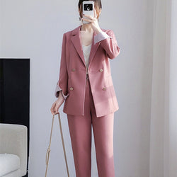 BGTEEVER Office Ladies Blazer Suit Double Breasted Pockets Female Blazer Pants Set Streetwear Elegant Women Pant Suit 2020