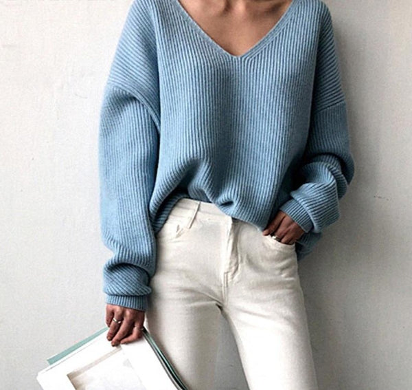 2020 New Autumn Casual V-neck Loose Women Sweaters Chic Ladies Knitted Tops Pullovers Irregular Hem Female Winter Warm Jumpers