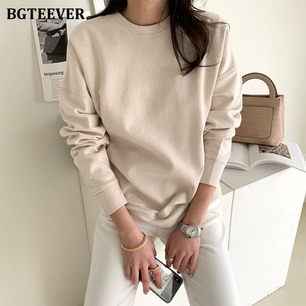 BGTEEVER OL Style Loose Women Solid Sweatshirts 2020 Autumn Winter New O-neck Long Sleeve Female Pullovers Tracksuits