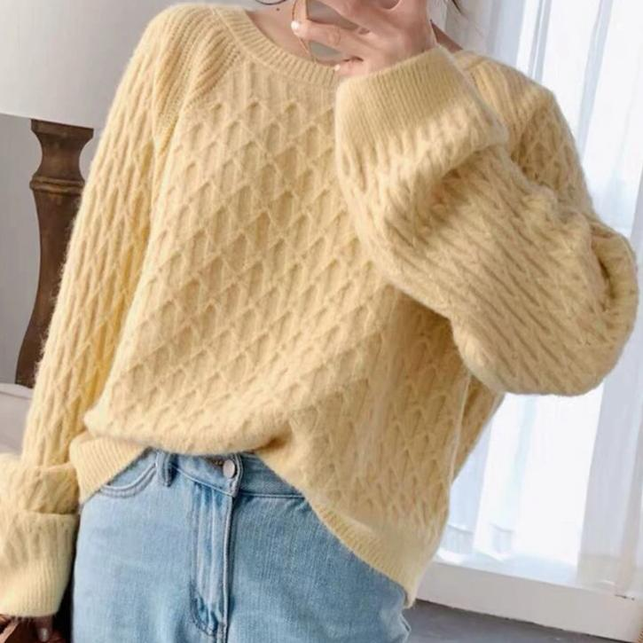 BGTEEVER Vintage Chic O-neck Sweater Women Argyle Plaid Knitting Tops Casual Loose Warm Knitted Jumper Female Autumn Winter 2020