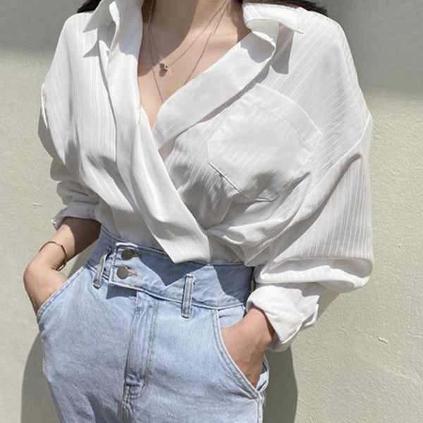 BGTEEVER Chic Pockets Striped Women Shirts Summer Autumn V-neck Loose Female Blouse 2020 Elegant Ladies Tops Blusas Mujer