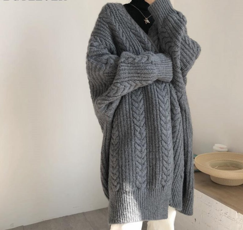 BGTEEVER Vintage Loose Female Long Sweater Cardigans Fashion Thick Warm Women Twisted Knitted Cardigan 2020 Autumn Winter Coat