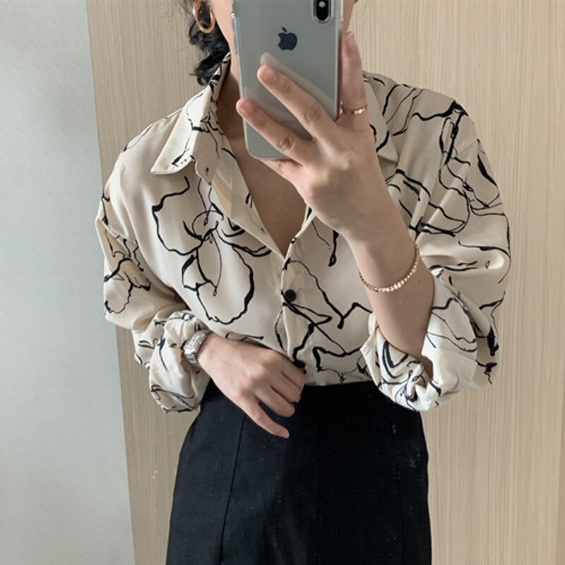 BGTEEVER 2020 Spring Loose Women Blouses Turn-down Collar Printed Shirts Tops Single-breasted Long Sleeve Chic Female Shirts