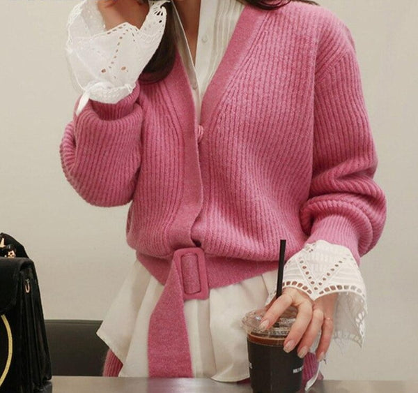 BGTEEVER Fashion Women 2 Pieces Sweater Set V-neck Belted Cardigans & High Waist Knitted Pencil Skirt Winter Female Skirt Suits