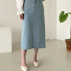 BGTEEVER Summer Chic Behind Split Female Denim Skirts Casual High Waist Straight Jeans Skirts for Women 2020 Streetwear
