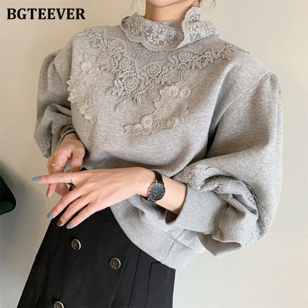 BGTEEVER Stylish Lace Patchwork Women Fleece Sweatshirts Winter Fashion Lantern Sleeve 2020 Loose Ladies Pullovers Warm Jacket