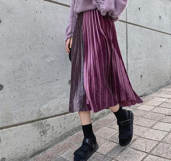 Fashion Metallic Color Women Pleated Skirt Elastic Waist Patchwork Female A-line Long Skirts 2019 Autumn Winter Thick Skirt