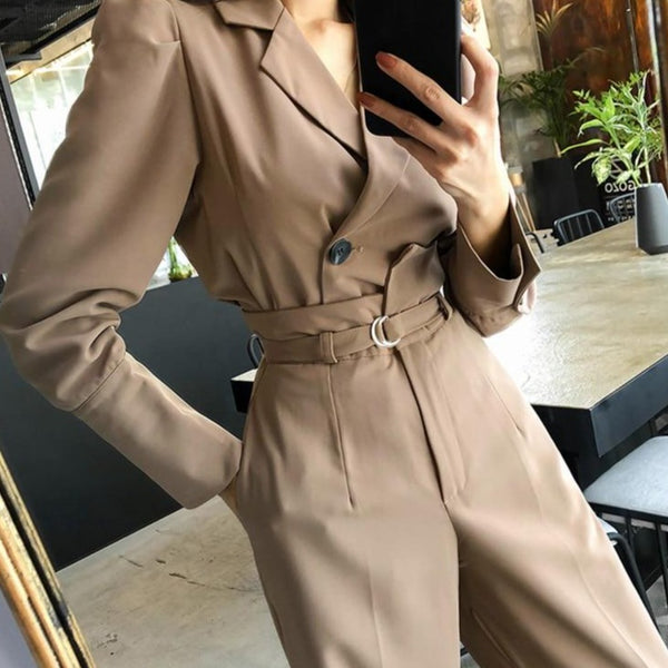 BGTEEVER Elegant 2 Pieces Set Full Sleeve Short Blzer & Long Belted Pants Chic Women Pant Suit 2020 Office Ladies Blazer Suits