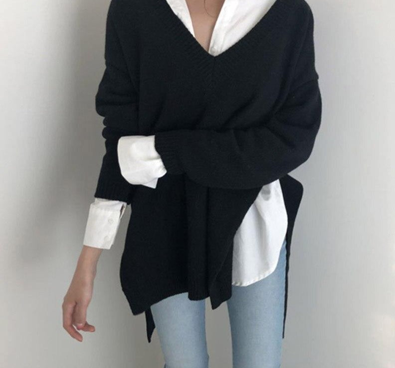 2020 New Irregular Women Sweater V-neck Lace Up Female Knitted Pullovers Long Sleeve Sweater Autumn Winter Knitted Jumpers