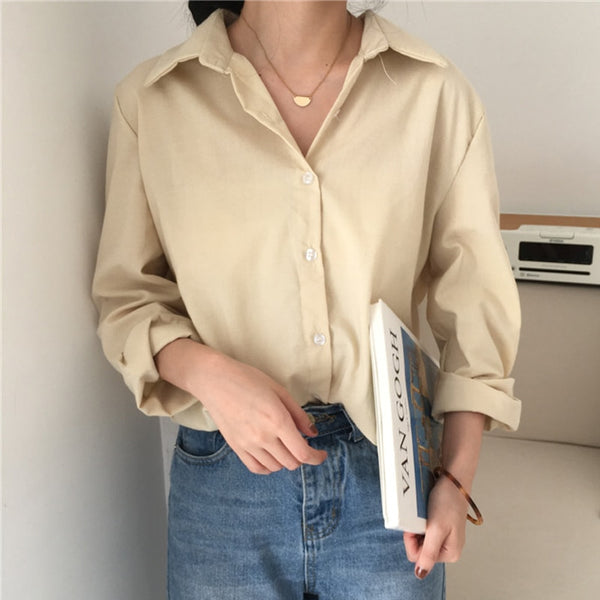 BGTEEVER All-match Loose Female Shirts Blouses Single-breasted Full Sleeve Female Shirts Tops 2020 Spring Summer Women Blusas