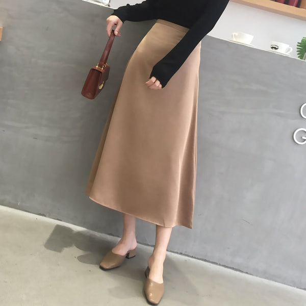 BGTEEVER Casual Soft Office Ladies Skirts Women Elegant High Waist Zipper Satin Female Skirt Mid-length 2020 Spring Summer