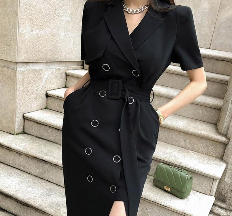 BGTEEVER Office Wear Double Breasted Notched Women Bodycon Dress Elegant Sashes Slim Waist Split Female Dress Vestidos 2020