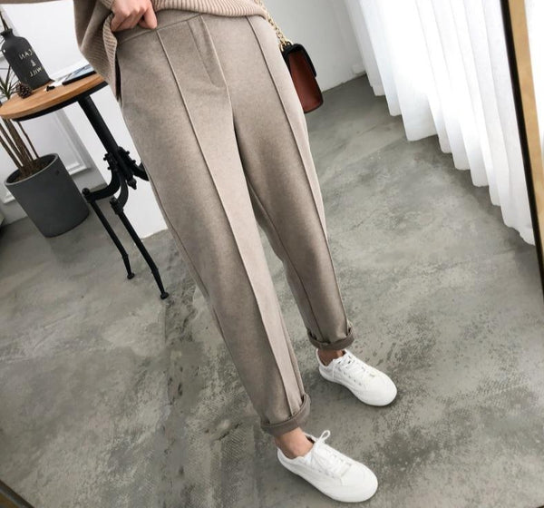 Warm Thicken Winter Women Suit Pants Elastic Waist Women Pencil Pants Plus Size Office Ladies Long Pants Elegant Women Trousers