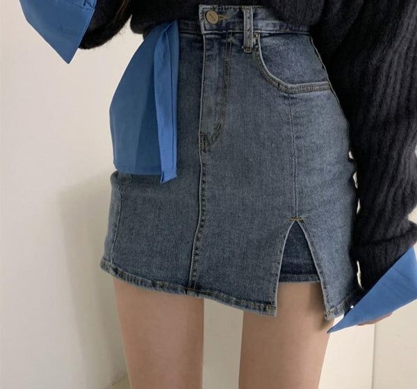 BGTEEVER Casual High Waist Side Split Women Denim Skirt Hip Package Stretchable Pockets Female Jeans Skirts Summer 2020