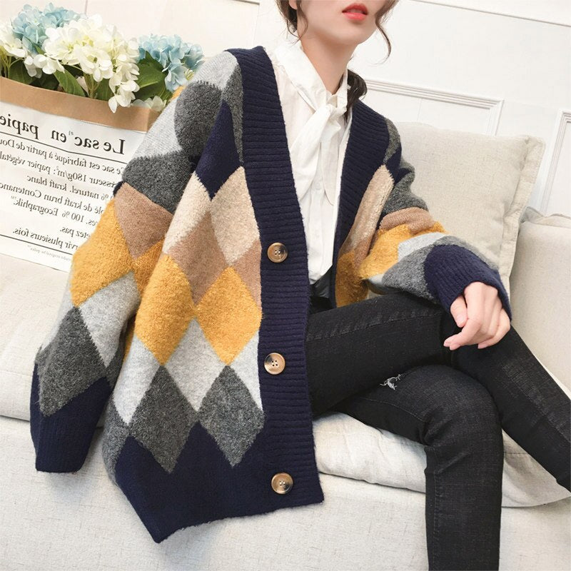2020 New Vintage Loose Plaid Women Cardigans Autumn Winter Open Stitch Sweater Elegant Thick Cardigans Female Knitted Outerwear