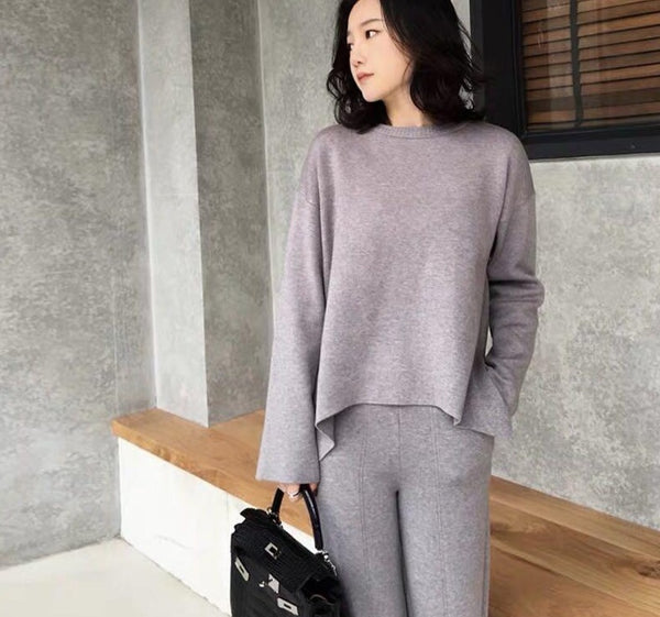 Elegant Knitted Set Women O-neck Jumpers & Wide Leg Pant Autumn Winter Sweater Set Female Casual Knitted Tracksuit Women 2020