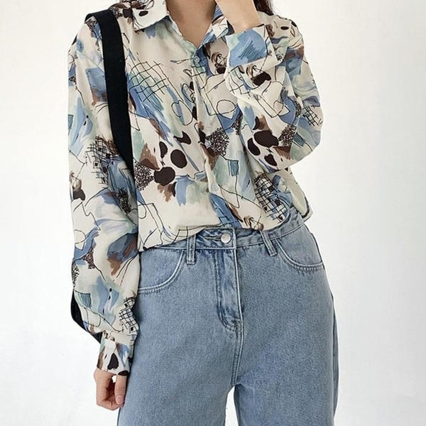 BGTEEVER Vintage Graffiti Chiffon Shirts for Women Turn-down Collar Pocket Female Shirts Tops 2020 Spring Summer Blouses Femme