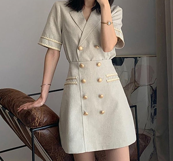 BGTEEVER Elegant Women Skirt Suits Double Breasted Notched Short Sleeve Blazer & A-line Skirts Female 2 Pieces Sets Blazer Set