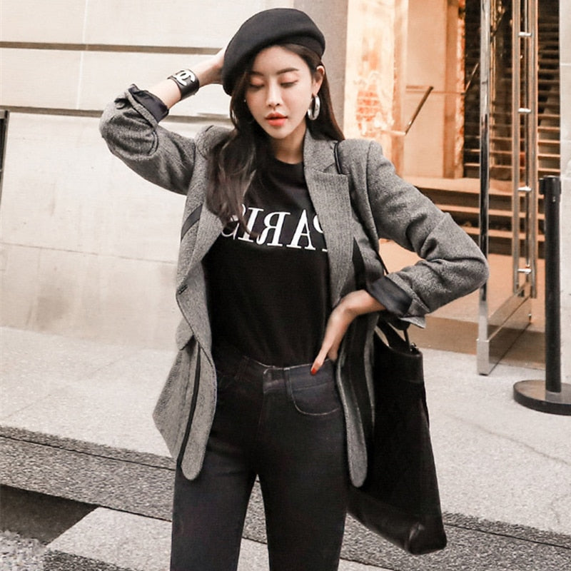 BGTEEVER Fashion PU Patchwork Women Blazer Vintage Sashes Female Suit Jacket Notched Collar Women Coat Femme Winter Outwear 2019