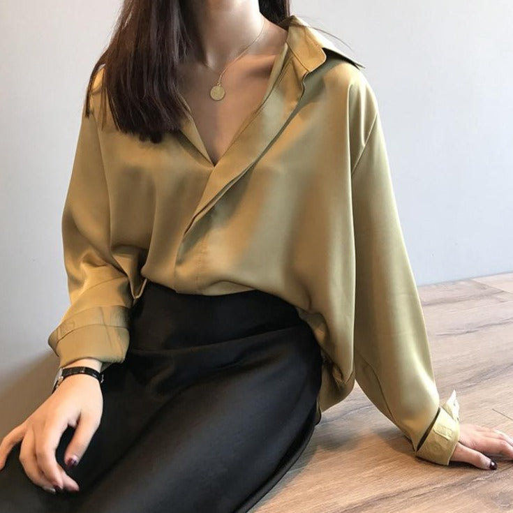BGTEEVER Elegant Long Sleeve Satin Shirts Women Turn-down Collar Loose Female Blouses Women Tops Blusas 2020 Spring Summer