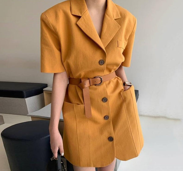 BGTEEVER Chic Notched Women Short Dress Summer Single-breasted Sashes Female Blazer Dress 2020 Short Sleeve Mini Vestidos femme