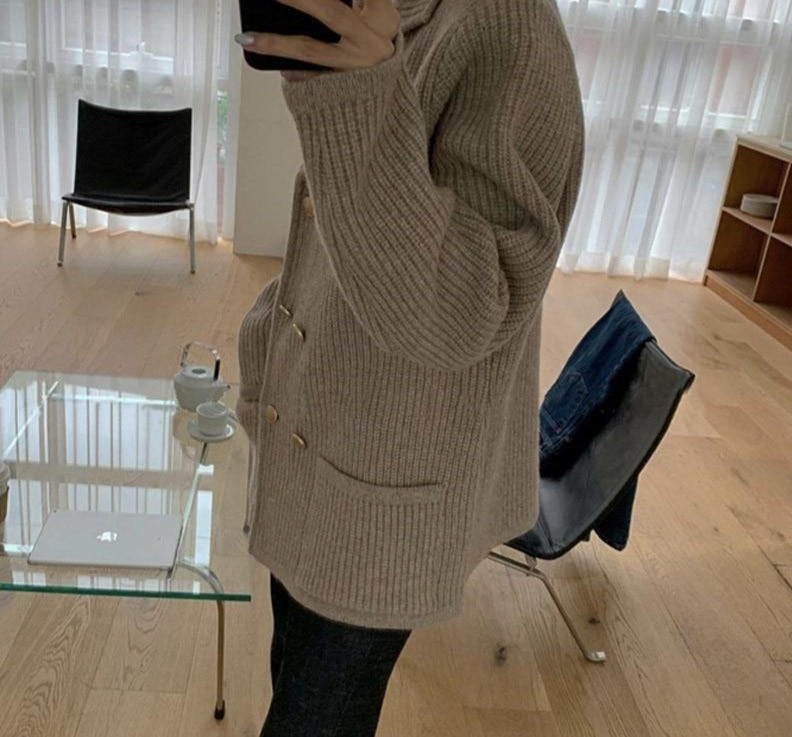BGTEEVER Elegant Notched Collar Open Stitch Sweaters for Women 2020 Double Breasted Loose Female Knitted Outwear Tops Coats
