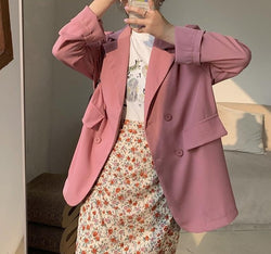 BGTEEVER Chic Loose Double-breasted Women Blazer Summer Thin Female Suit Jacket Casual Full Sleeve Outwear blaser femme 2020