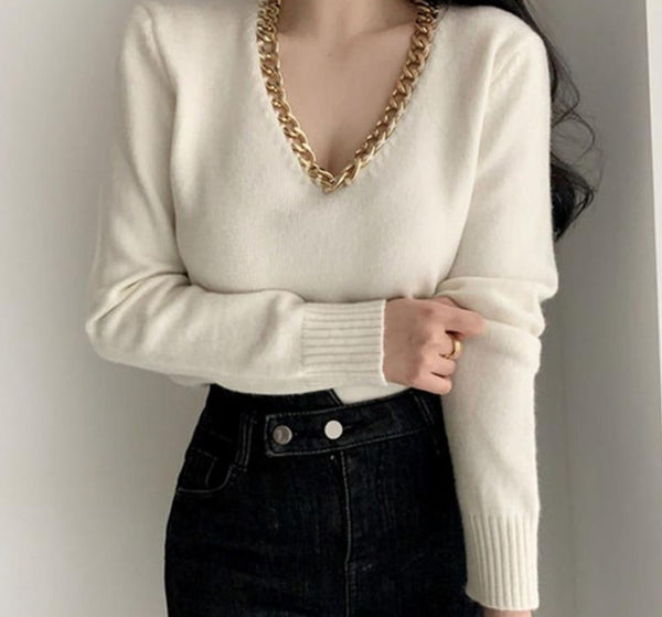 BGTEEVER Chic V-neck Metal Chain Women Knitted Pullover Jumpers Autumn Winter Thick Warm Long Sleeve Female Sweater Tops 2020