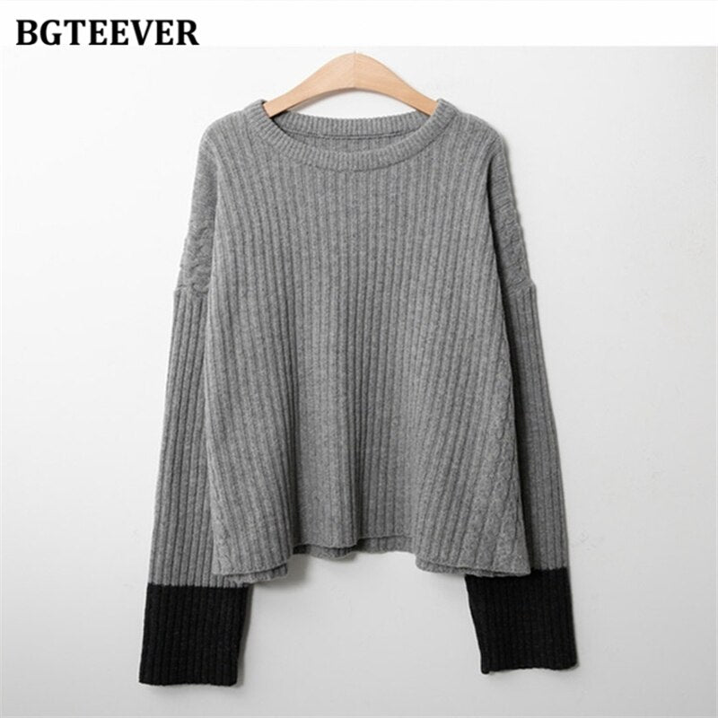 BGTEEVER Elegant Thick Knitted 2 Pieces Set Women O-neck Patchwork Pullovers & Side Split Skirts 2020 Autumn Sweater Set Female
