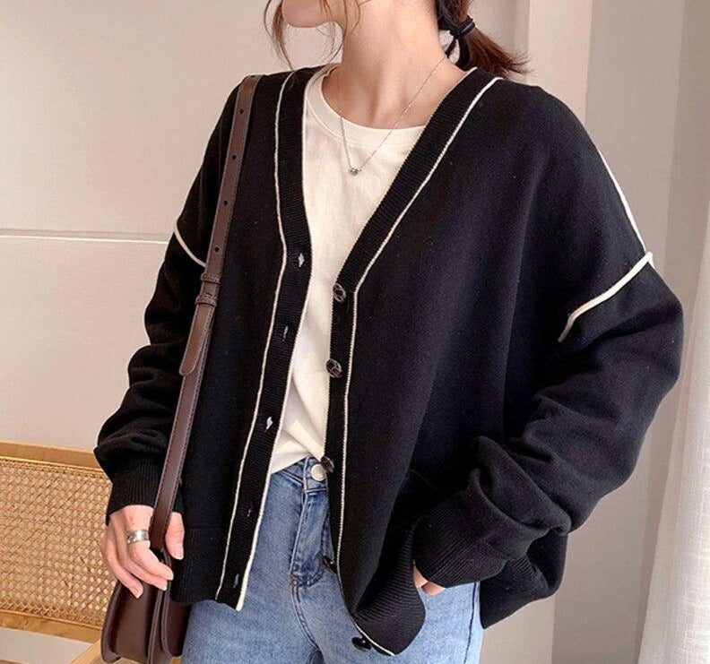 BGTEEVER Stylish Chic Patchwork Open Stitch Sweater for Women Vintage V-neck Single-breasted Loose Female Knitted Cardigans 2020