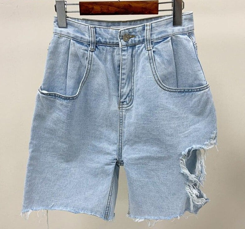 BGTEEVER Summer High Street Ripped Holes Women Denim Shorts High Waist Casual Loose Tassels Female Shorts Jeans 2020