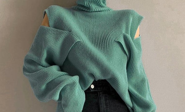 BGTEEVER Chic Cold-shoulder Buttons Turtleneck Women Sweater Streetwear Loose Female Jumpers Pullovers 2020 Autumn Winter Knit
