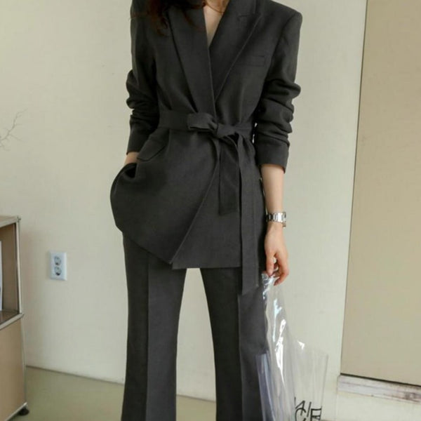 Office Ladies Blazer Suit Dark Gray Slim Women Pant Suit Korean Lace Up Jacket & High Waist Pant Casual Female 2 Pieces Set 2019