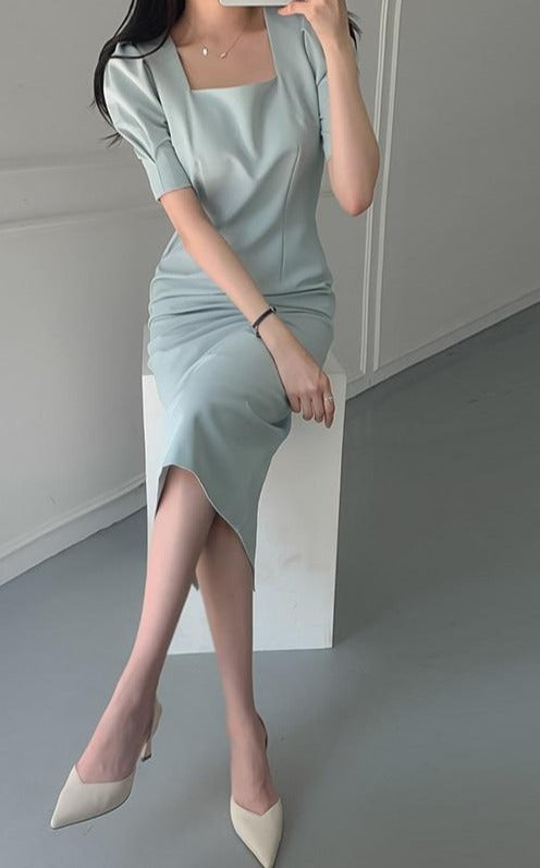 BGTEEVER Square Collar Puff Sleeve Female Dress Summer Elegant Solid Women Dress Slim Waist Split Bodycon Vestidos femme 2020