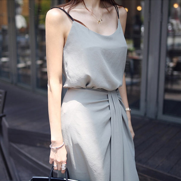 BGTEEVER Elegant Solid 2 Pieces Set Solid V-neck Sleeveless Tops & Split Skirt Women Office Ladies Two-pieces Suits 2020 Summer