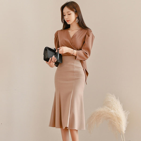 BGTEEVER Office Ladies 2 Pieces Set V-neck Blouses & Hip Package Mermaid Skirt Suits Female 2019 Autumn Winter Elegant Women Set