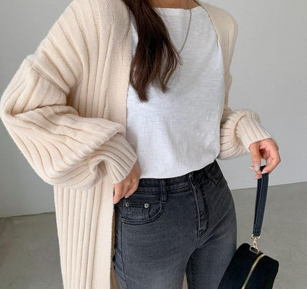BGTEEVER Thick Warm Autumn Winter Women Long Open Stitch Sweater 2020 Casual Oversized Female Solid Knitted Cardigans Tops