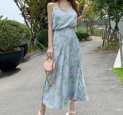 BGTEEVER Chic Women Set V-neck Camisoles &  Elastic Waist A-line Midi Skirts Elegant Leaves Printed 2 Pieces Set 2020 Summer