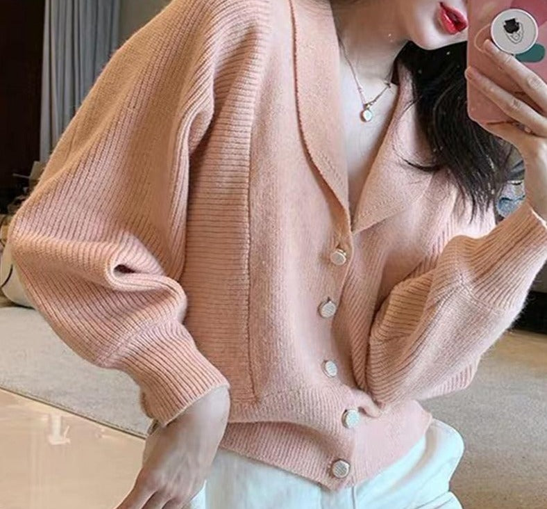 BGTEEVER Vintage V-neck Single-breasted Sweater Women Knitted Jumpers 2020 Autumn Winter Lantern Sleeve Female Knitted Cardigans