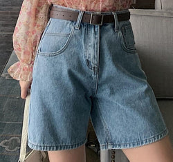 BGTEEVER Fashion Summer Half Women Denim Shorts High Waist Belted Loose Female Short Jeans 2020 Streetwear