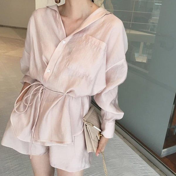 BGTEEVER Chic Summer 2 Pieces Set Women Lace Up Outwear & Loose Shorts 2020 Female Shorts Suits Casual Short Pant Suits Women