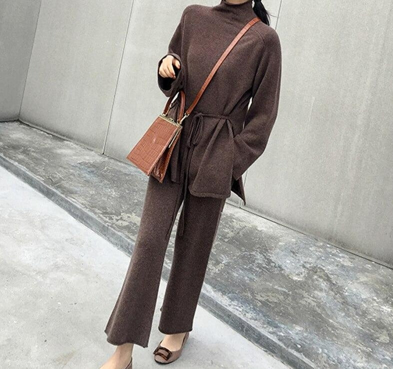 BGTEEVER 2020 Winter Knitted 2 Pieces Set Women Turtleneck Lace-up Pullovers & Elastic Waist Loose Pants Women Sweater Tracksuit