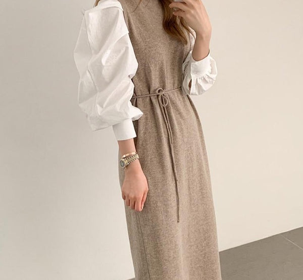 BGTEEVER Vintage Puff Sleeve Patchwork Women Knitted Midi Dress O-neck Slim Waist Lace-up Fashion Sweater Dress Vestidos Femme
