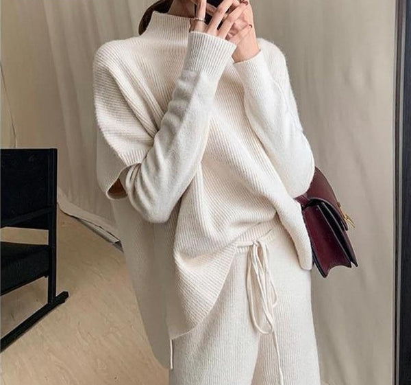 BGTEEVER Winter 3 Pieces Sweater Set Women Half Turtleneck Vest & O-neck Pullovers & Lace-up Loose Pants 2020 Female Knitted Set