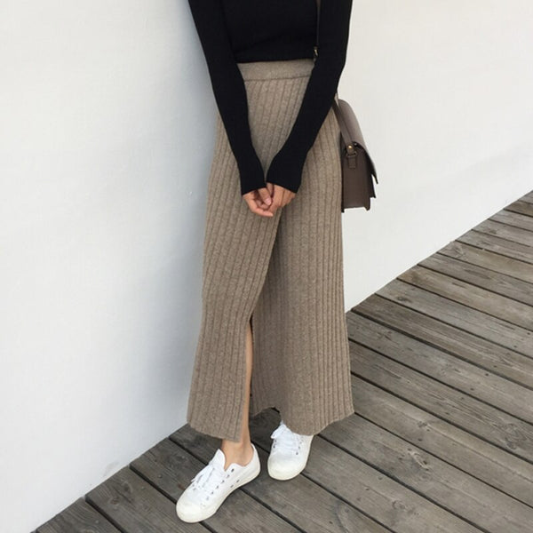 BGTEEVER Autumn Winter Thick Women Knitted Skirt Elastic Waist A-line Front Split Female Sweater Skirts Elegant Ladies Skirt