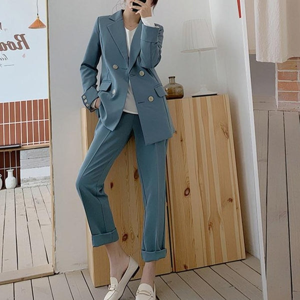 BGTEEVER Chic Blue Women Pant Suit Double-breasted Jacket & Pencil Pant Women Blazer Suit Set Female Workwear Trouser Suit 2019