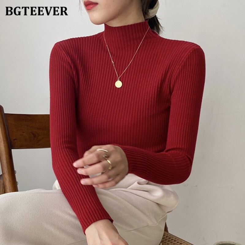 BGTEEVER Autumn Turtleneck Women Basic Solid Knitted Pullovers Casual Slim Long Sleeve Female Knitwear Tops 2020 Ladies Sweater