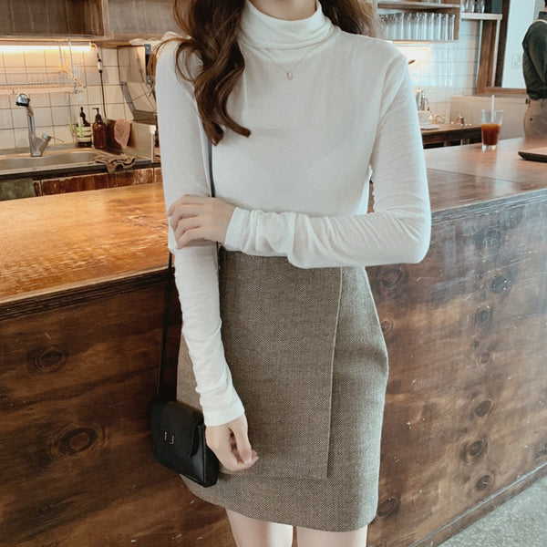Vintage Striped Women Short Skirt Elegant High Waist Zipper Up Solid Slim Thick Female A-line Skirt Autumn Winter Ladies Skirt